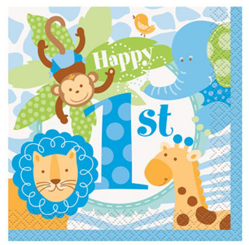 1st Birthday Blue Safari 24 Ct Beverage Napkins Animals Monkey