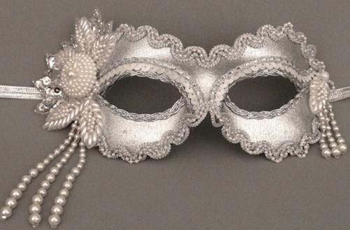 Divine in Silver Beaded Masquerade Mask