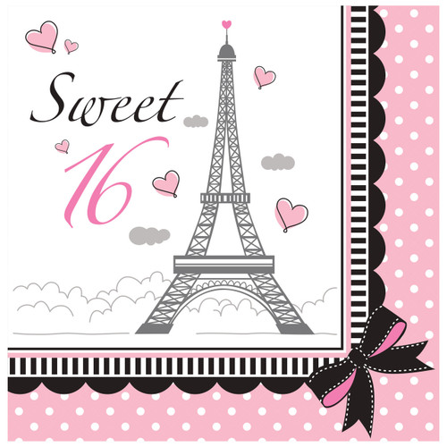 Party in Paris 16th Happy Birthday 18 Lunch Napkins Eiffel Tower