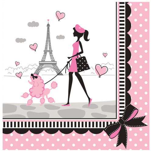 Party in Paris Birthday 18 Lunch Napkins Eiffel Tower Girl Poodle