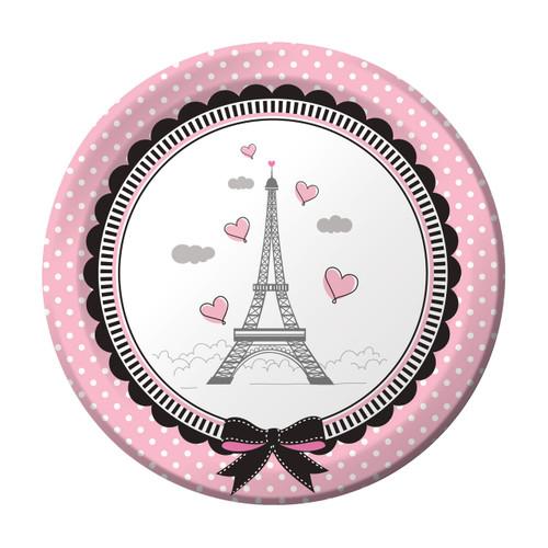 """Party in Paris Birthday 8 7"""" Dessert Plates Eiffel Tower"""