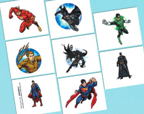 Justice League Temporary Tattoos Favors 16 Ct Birthday Party
