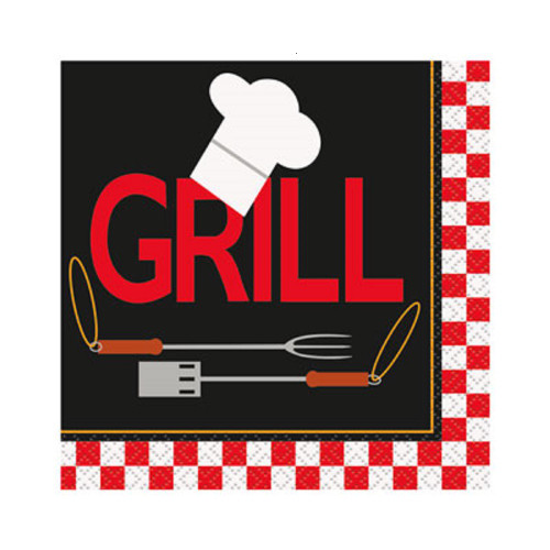Backyard BBQ Grill 16 Ct Beverage Napkins Party Banquet