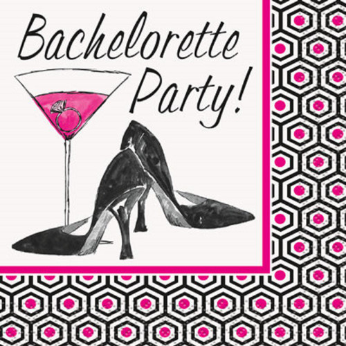 """Bachelorette Party"" 16 Beverage Napkins Shower Bridal"
