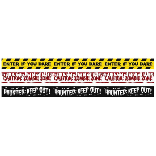 3 Fright Tape Banners Halloween Enter if you dare, Zombie Zone, Haunted