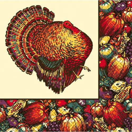 Autumn Turkey 20 Dinner Napkins Fall Thanksgiving