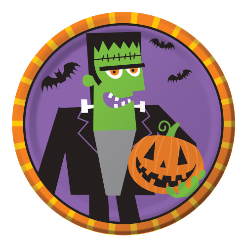 "Creepy Characters 8 7"" Dessert Plates Halloween Party Frankenstein"