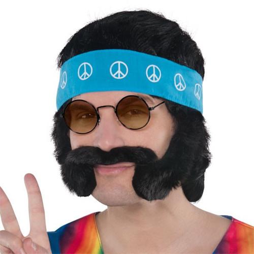 Groovy 60's Hippie Character Costume Kit Wig, Moustache Headband