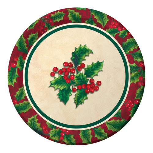 "Boughs of Holly 8 ct 7"" Dessert Cake Plates Christmas Party"