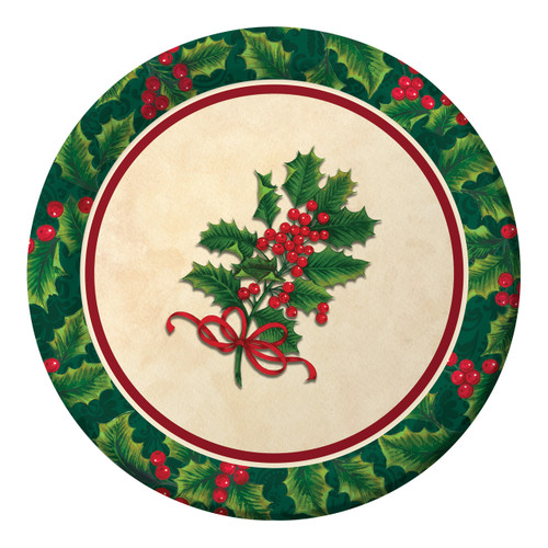 "Boughs of Holly 8 ct 9"" Dinner Lunch Plates Christmas Party"