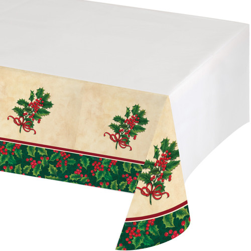 Boughs of Holly Plastic Tablecover 54 x 102 Christmas Party