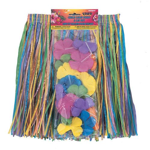 2 pc Hawaiian Luau Child's Flower Lei and Grass Hula Skirt Nylon