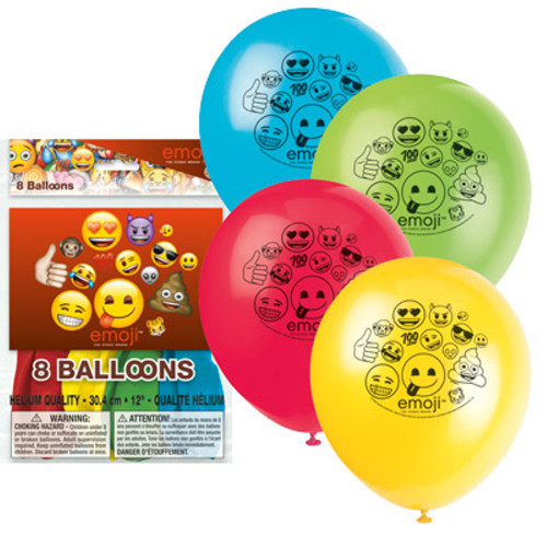 "Emoji 8 Ct Latex 12"" Balloons Birthday Party"