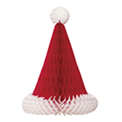 Santa Hat Honeycomb Christmas Party 12 In Table Centerpiece, Red