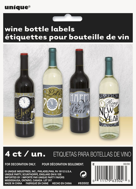 new years eve holiday beverage wine bottle labels 4 ct party