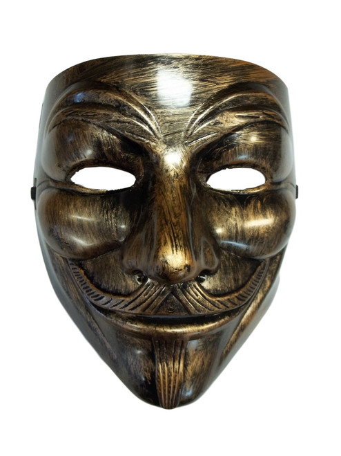 Brushed Bronze Guy Fawkes Anonymous V for Vendetta Halloween Costume Mask