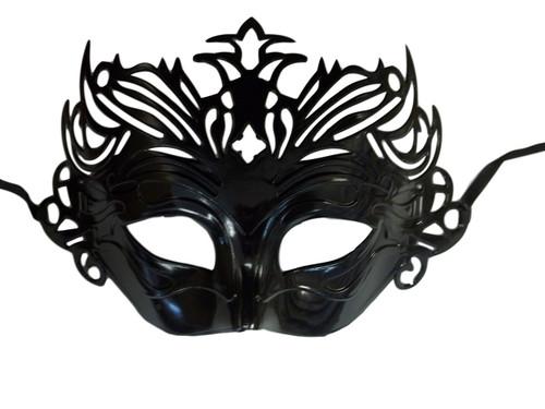 Black Venetian Laser Cut Mardi Gras Masquerade Half Mask Crown