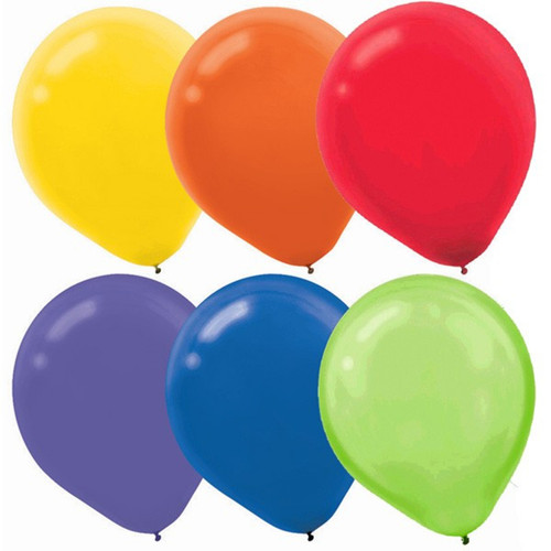 "6 Assorted Colors Latex Balloons 12"" 72 Ct Yellow, Orange, Red, Purple, Blue, Kiwi"