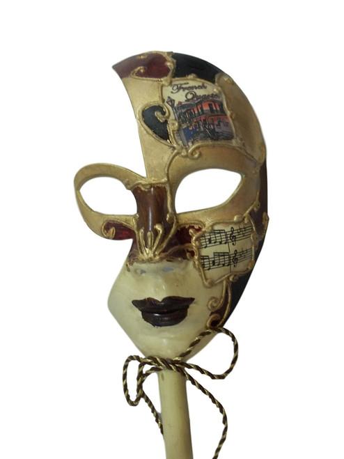 New Orleans French Quarter Venetian Stick Mask Burgundy Ladies