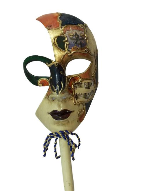 Bourbon Street New Orleans French Quarter Venetian Stick Mask Green Orange
