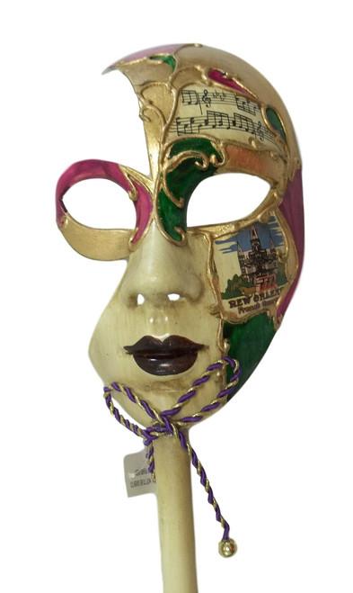 New Orleans French Quarter Venetian Stick Mask Ladies White Gold