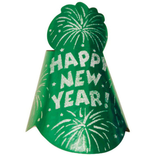 "12 Printed Foil Green 9"" Cone Hats Metallic New Year's Eve Party"