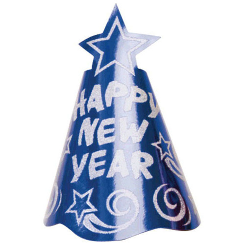 "1 printed Foil Blue 9"" Cone Hat Metallic New Year's Eve Party"