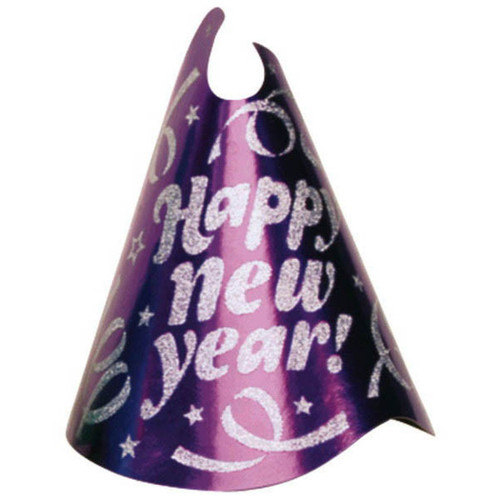 "1 Purple Printed Foil 9"" Cone Hat Metallic New Year's Eve Party"