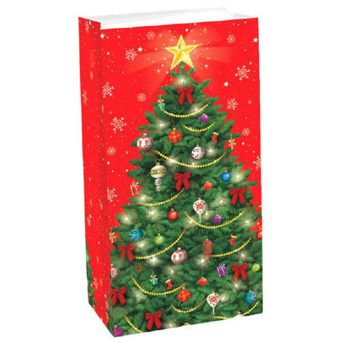 12 Christmas Tree Treat Bags Paper Lunch Bag Sack