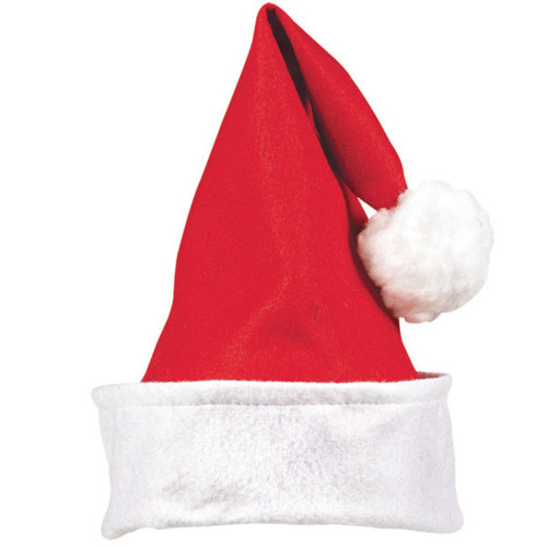 "Child's Felt Santa Claus Hat 13"" x 11"", Red"