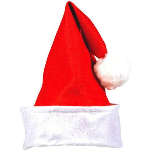 """Folded Cuff Felt Santa Claus Hat 15"""" x 12"""", Red"""