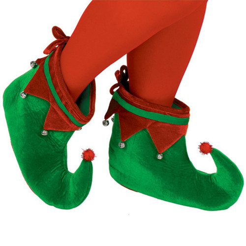 Adult Plush Elf Shoes One Size with Jingle Bells, Red Green