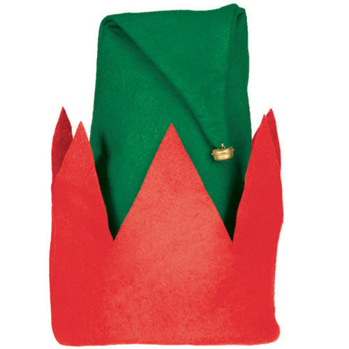 """Value Felt Elf Hat 15"""" x 12"""" with Jingle Bell, Red Green"""