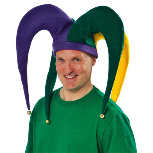 "Mardi Gras Giant Jester Hat Purple Green Yellow Fools 19"" x 11"""
