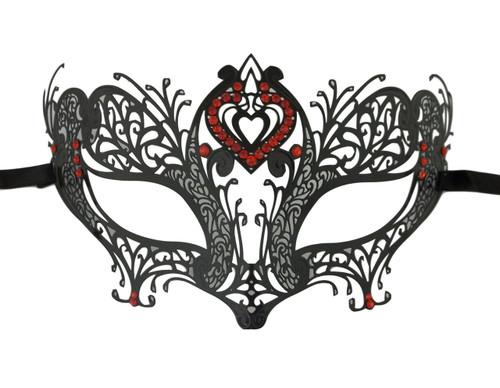 Red Double Heart Black Laser Cut Venetian Masquerade Metal Filigree Mask Rhinestones