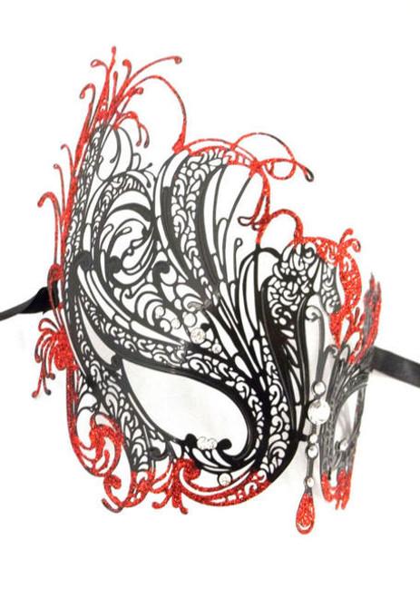 Black Red Glitter Rhinestone Swan Laser Cut Venetian Mask Masquerade Metal Filigree