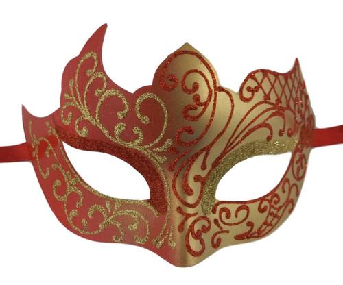 Red Gold Unique Mardi Gras Masquerade Prom Mask