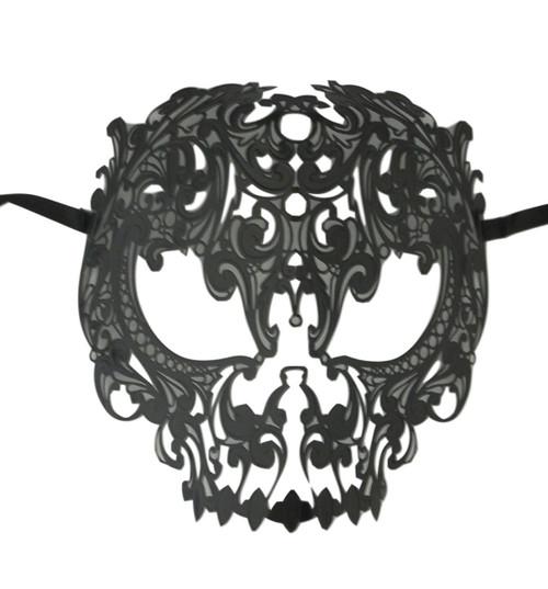 Black Skull Metal Laser Cut Masquerade Prom Mask