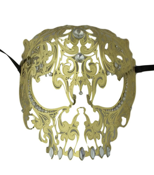 Gold Skull Metal Laser Cut Masquerade Prom Mask Clear Crystals