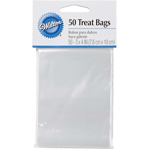 Wilton 50 Ct Disposable Clear Treat Bags 3 x 4 inches Cake Pops, Lollipops