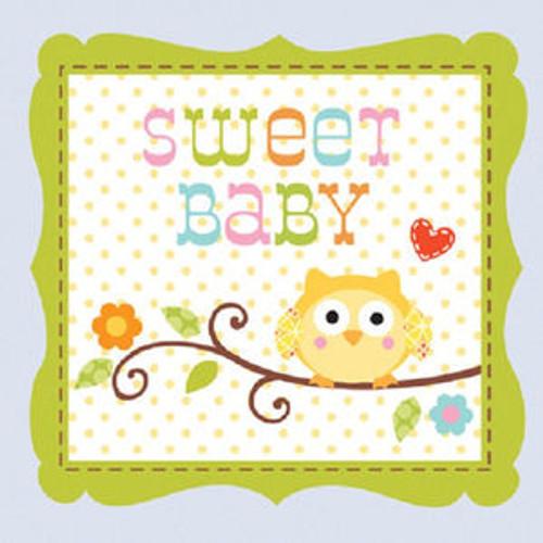 Happi Tree 16 Ct Blue Beverage Boy Napkins Baby Shower Sweet Baby Owl Paper