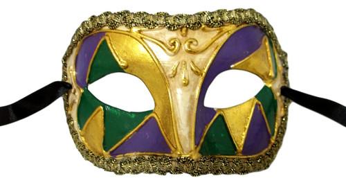 Purple Green Gold Mardi Gras Paper Mache Masquerade Mask