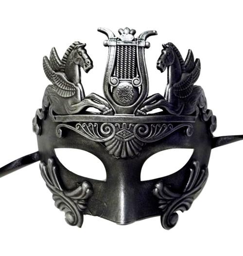 Brushed Silver Antique Warrior Greek Pegasus Masquerade Mardi Gras Men's Mask