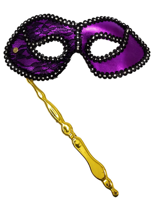 Purple Black Lace Stick Opera Masquerade Party Mardi Gras Mask