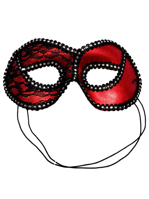 Red Black Lace Lame Mask Masquerade Party Mardi Gras