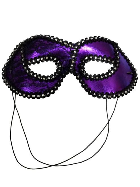 Purple Black Lace Lame Mask Masquerade Party Mardi Gras
