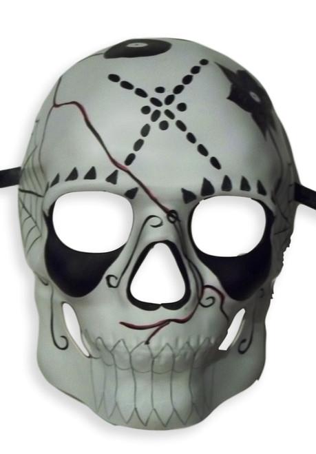 White Black Day of the Dead Halloween Skull Masquerade Mask