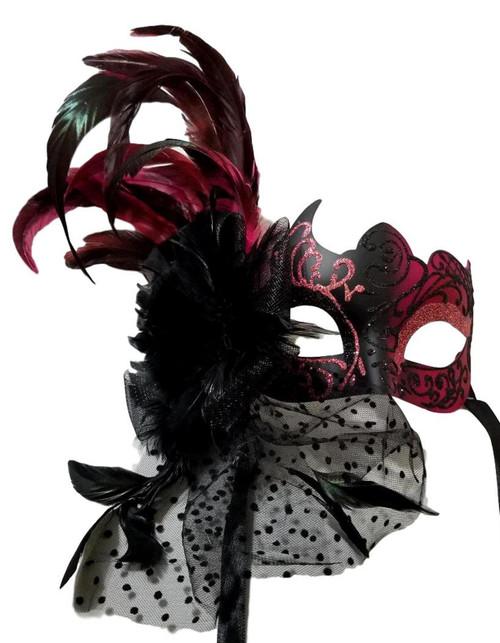Hot Pink Net Dot Fancy Lady Feather Flower Masquerade Mardi Gras Mask