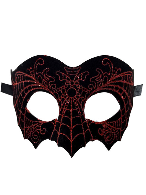 Black Red Suede Leather Laser Cut Venetian Masquerade Prom Mask Goth
