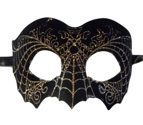 Black Gold Suede Leather Laser Cut Venetian Masquerade Prom Mask Goth